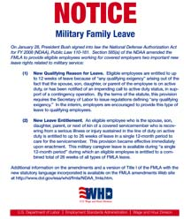 Department of labor has issued a new military family leave