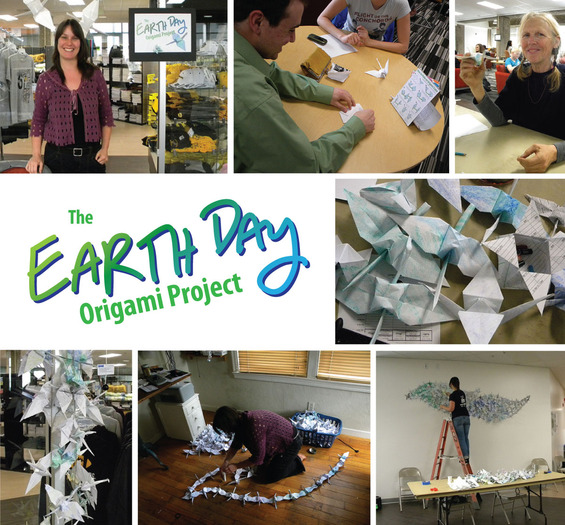The Earth Day Origami Project, a recyled art project by Erin Wade