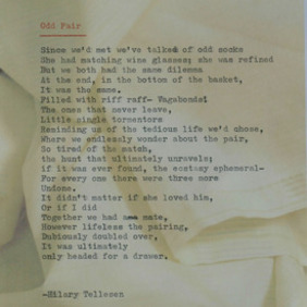 Poem by Hilary Tellesen, part of a collaboration with artist Erin Wade