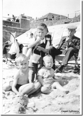 Grandad Ray, l to r David Frith, John Frith & Alan Smith (baby).1946