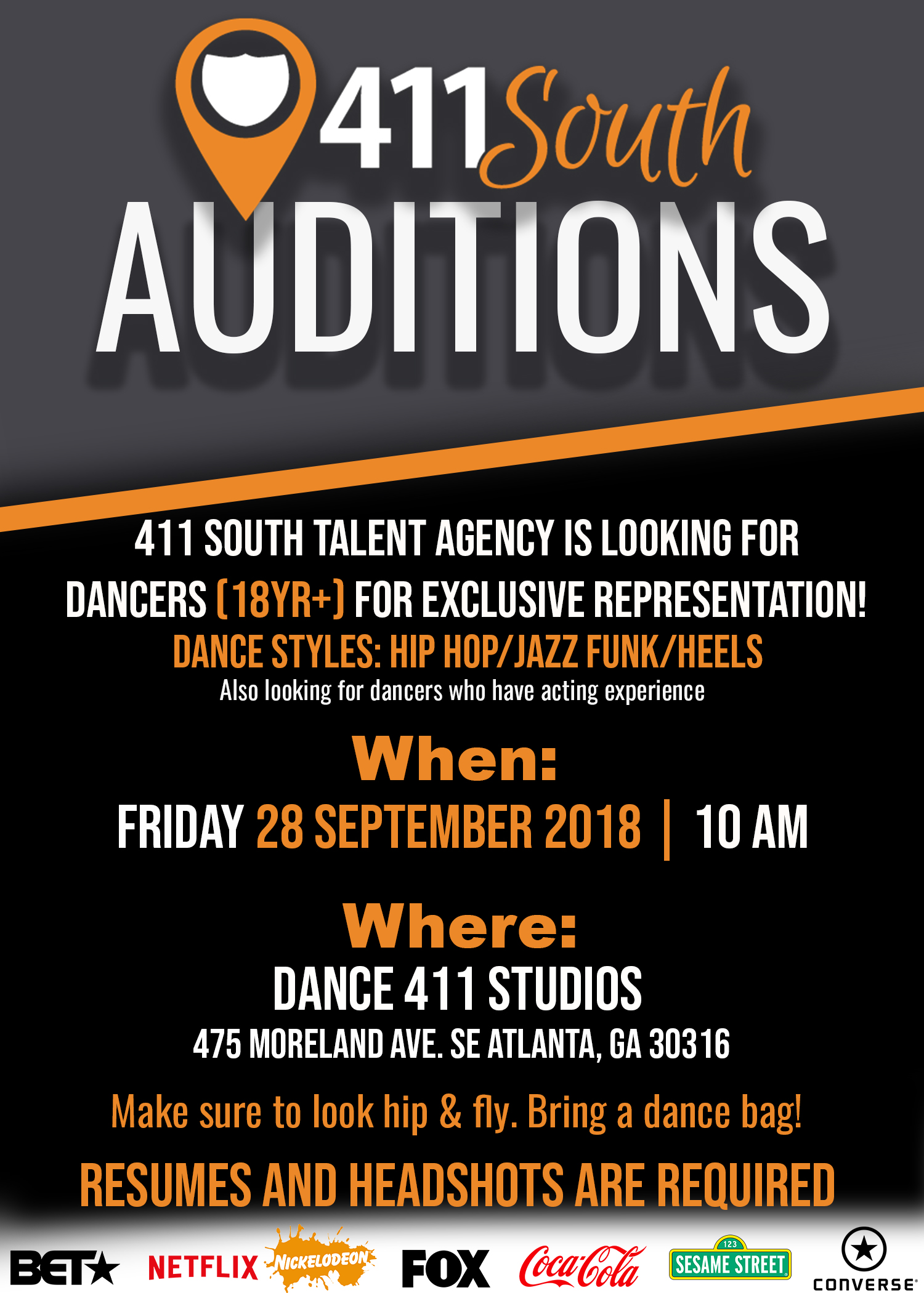 411 SOUTH TALENT AGENCY AUDITIONS IN ATLANTA - Atlanta Dance