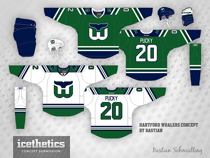 Can t do a week of past NHL team concepts without including the Whalers.  The ever-prolific Bastian Schmülling put together this green uniform set. 0a8eb4d43