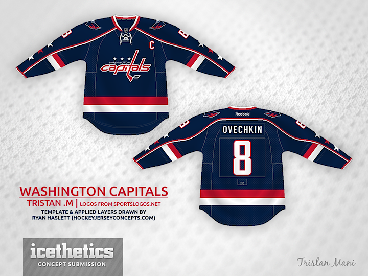 It would be nice to see the Capitals back in blue someday — even if only as  a third jersey. This one by Tristan Mani would be a brilliant way to go ... d4aeb6345f2
