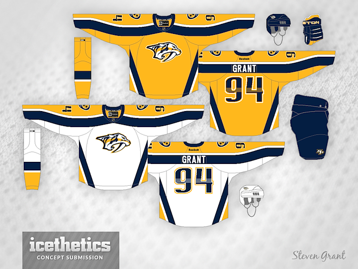 I don t love some of the details of the Nashville Predators  uniforms and  I m probably not alone. The apron strings criss-crossing horizontal stripes  and ... b8cc80d30