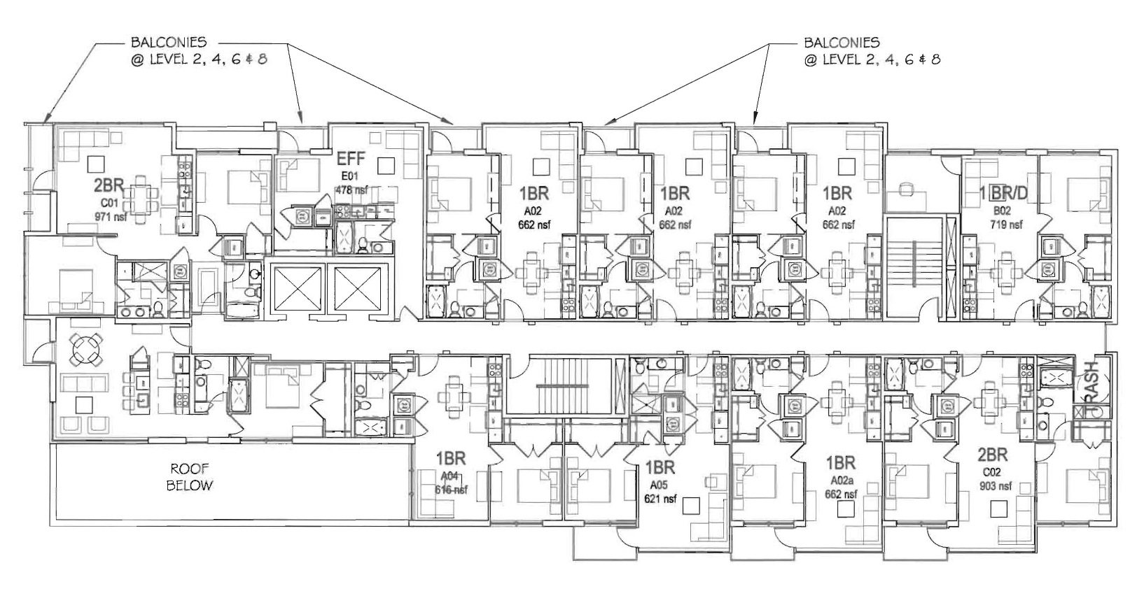Revised plans for apartment building at 15th v for Apartment building blueprints