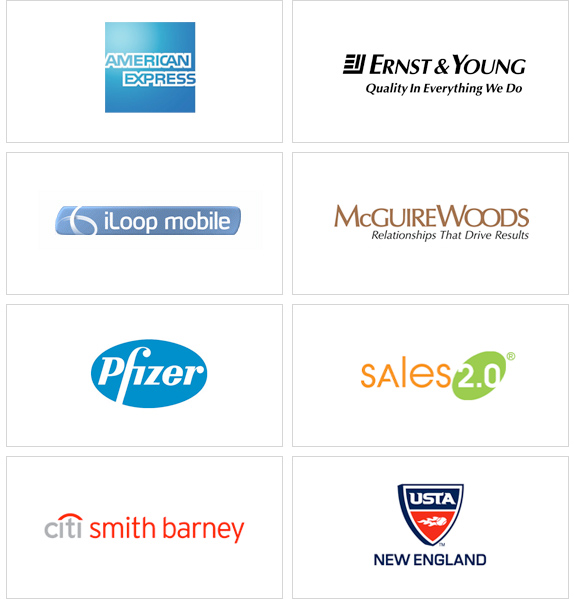 Logos of these clients: American Express, Ernst & Young, iLoopMobile, McGuire Woods, Pfizer, Sales 2.0, Smith Barney, USTA New England