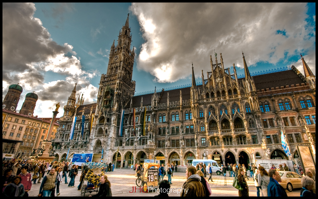 Munich Munchen Germany HD High Definition Resolution HDR Wallpaper JHGphoto 2560x1440 1920x1200 City Urban Download Marienplatz