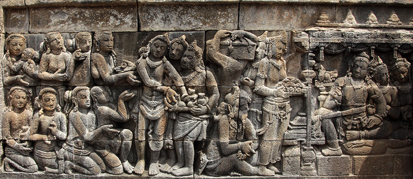 The Bas Relief Panels Of Borobudur Temple Central Java