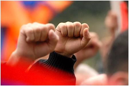 Fists clenched revolution