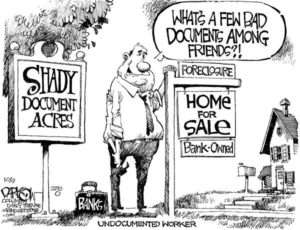 Undocumented Worker Foreclosure Fraud Cartoon Home