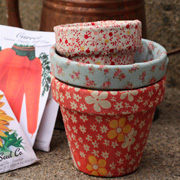 Fabric Covered Flower Pots from Lavender and Limes