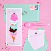 Printable Ice Cream Party Invites from One Charming Party