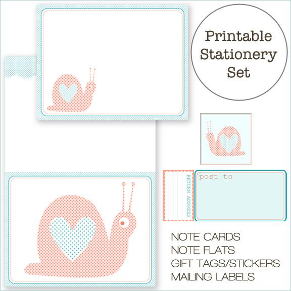 Free Printable Snail Stationery SetHomeCreature Comforts