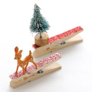 DIY Adorned Glittered Clothespin Gift Toppers / Ornaments