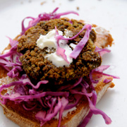 Lentil Fritters with Red Cabbage Slaw