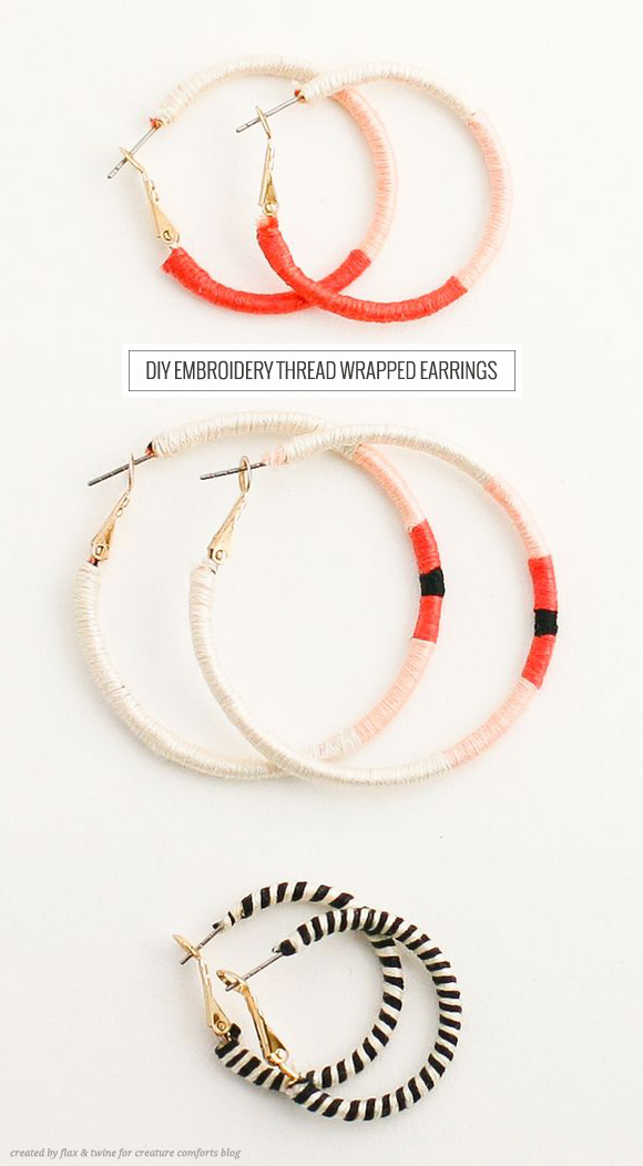 Diy Embroidery Thread Wrapped Earrings Home Creature Comforts