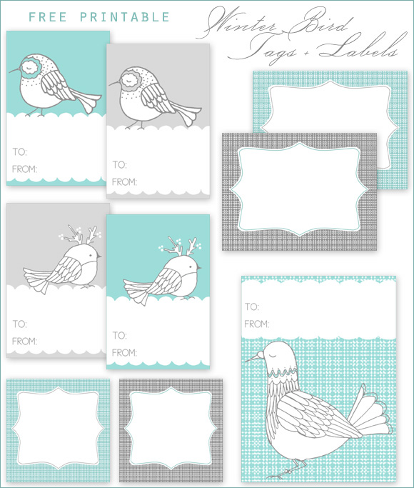 free printable winter bird gift tags labels home creature