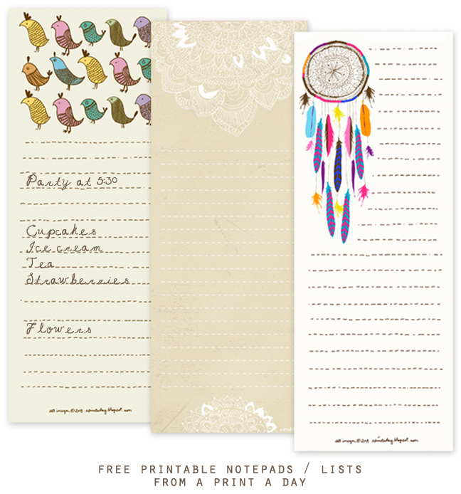 picture regarding Printable Notepad named Absolutely free Printable Notepads / Lists in opposition to A Print A Working day - Property