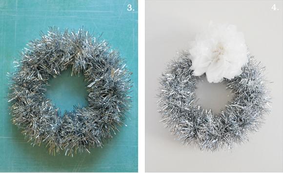 Diy minute tinsel garland wreath home creature