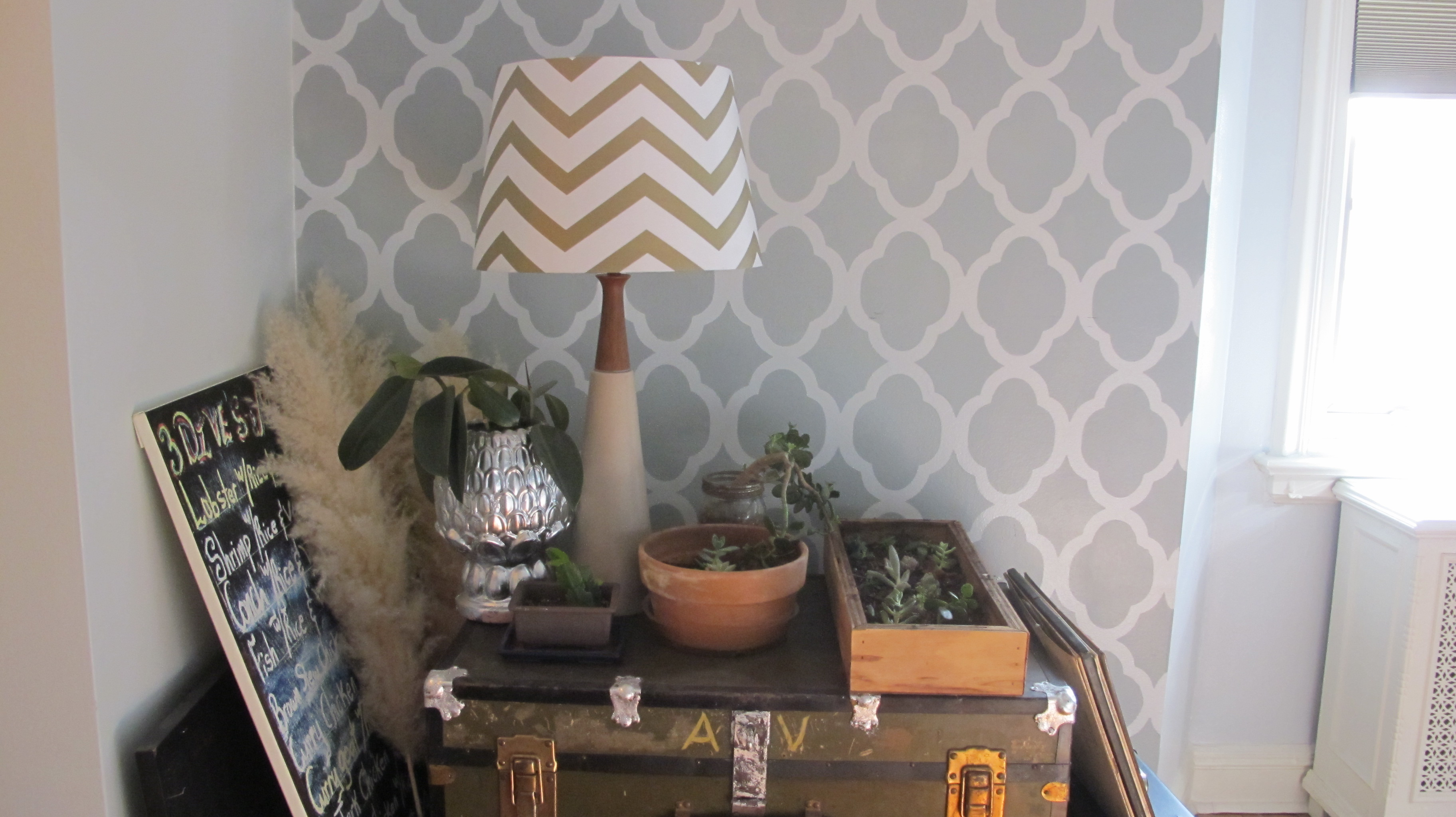 chevron lampshade, danish lamp