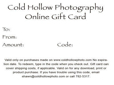 Shawn corrows on the sidelines cold hollow photography home heres a sample gift certificate great for giving the gift of family portraits they start at 75 but can be made in highger amounts if you want to help saigontimesfo