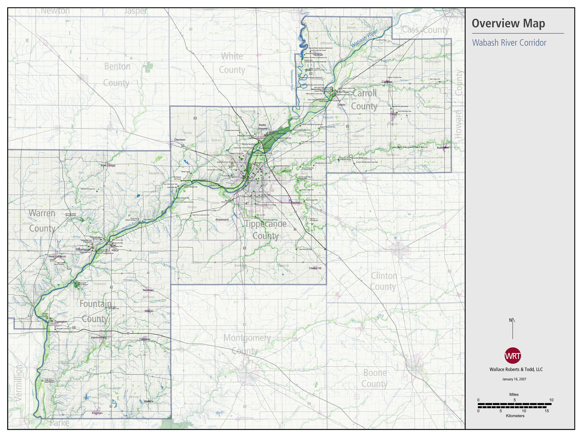Wabash River Map 13 Colonies