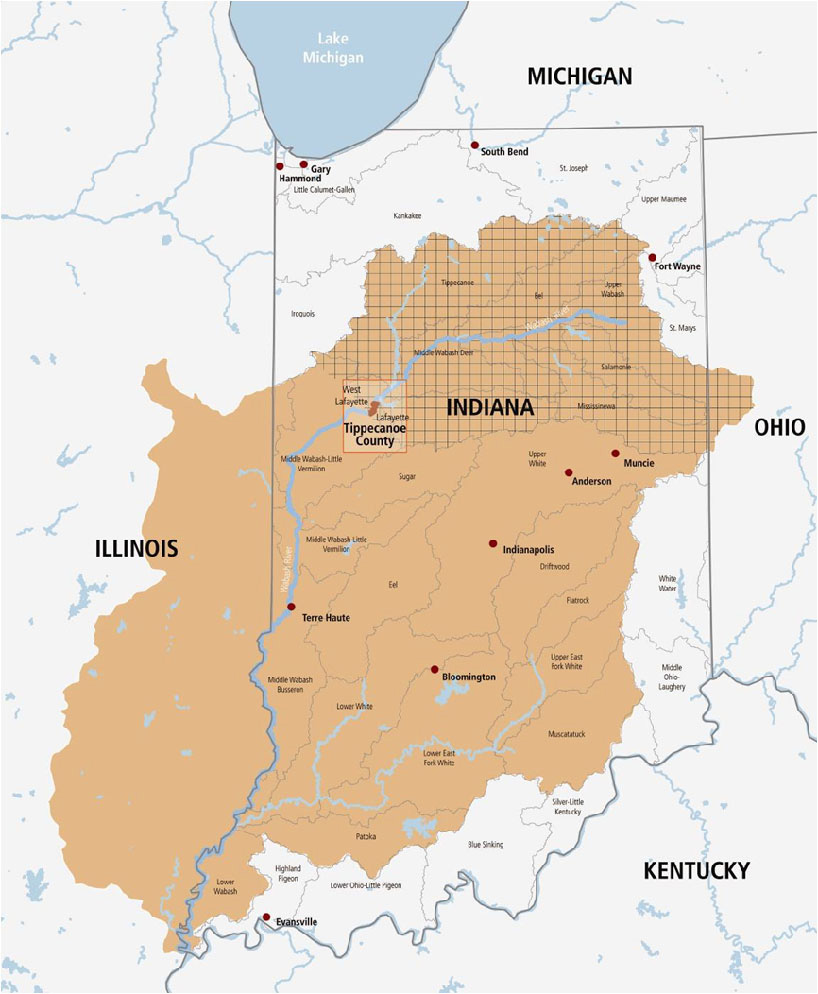 Wabash River Enhancement Corporation About Wabash River - Indiana rivers map