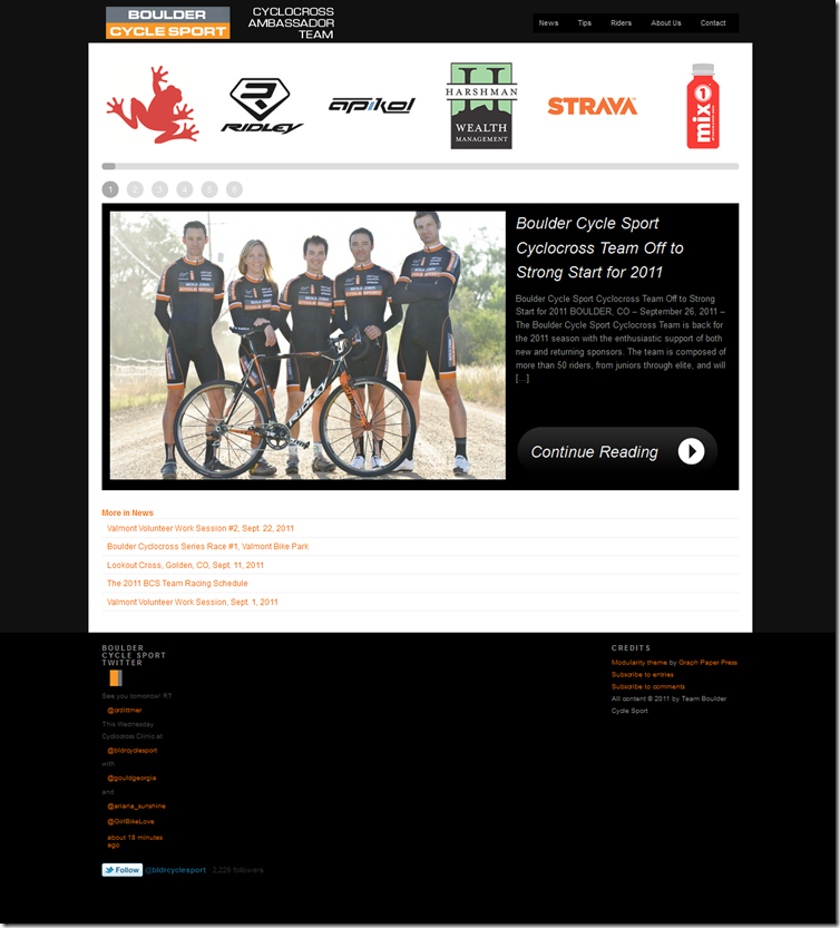 Team Boulder Cycle Sport Website