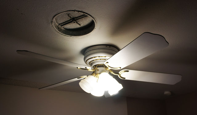 not only is it ugly but for some reason its not mounted in the middle of the room its noticeably too close to the front wall yay my house ceiling fans ugly