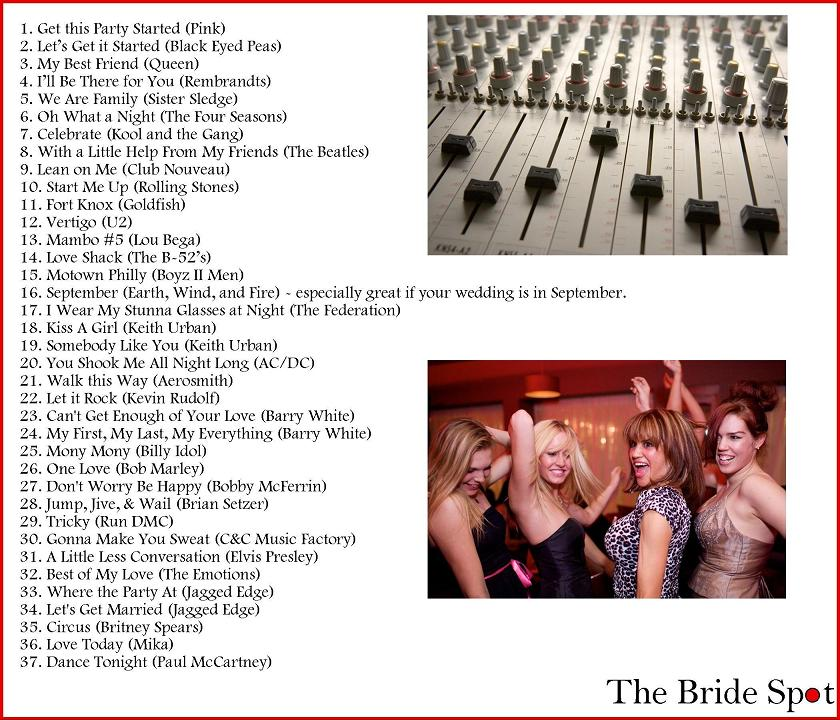 Here Are Some Suggestions For Great Music To Get Your Wedding Started Off Right These Songs A Fun Way Introduce Party And Family