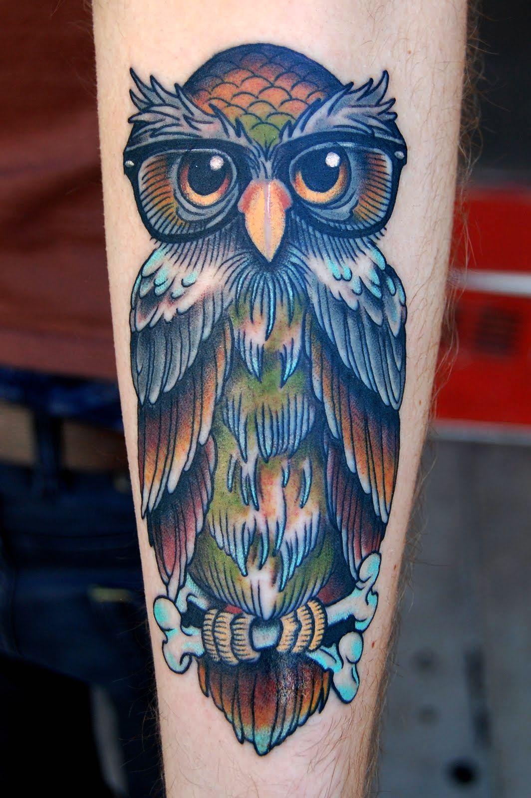 Old school owl tattoo flash for Owl tattoo designs