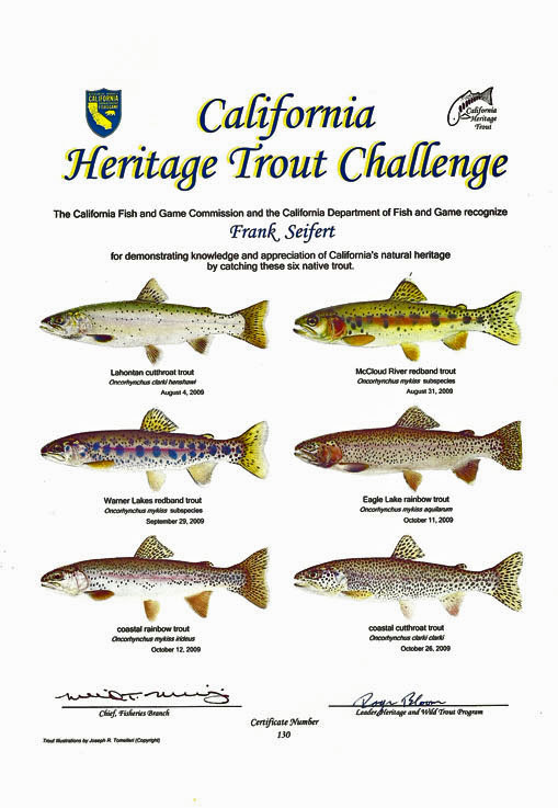 Frank 39 s california heritage trout challenge https for Ca dept of fish and game