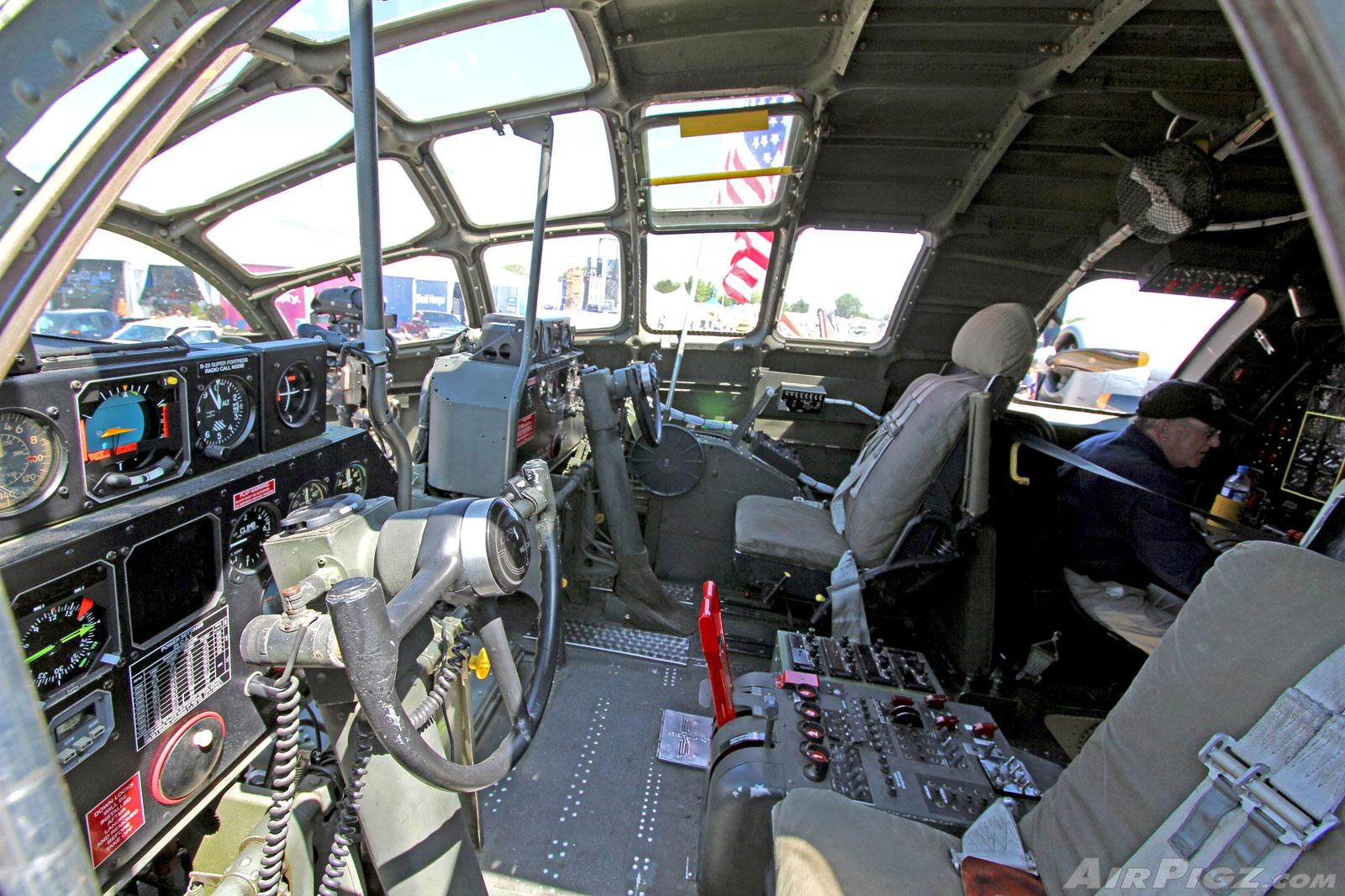 B 29 Inside B-29 cockpit and bomba...
