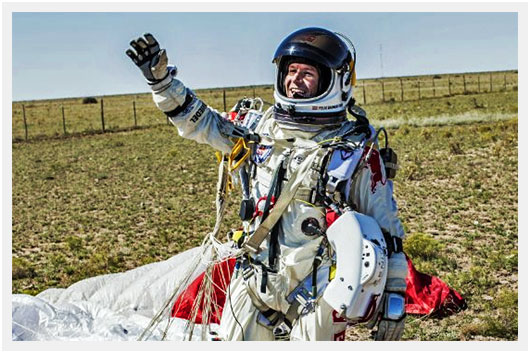 Felix Baumgartner immediately after landing on the record setting    Felix Baumgartner Landing