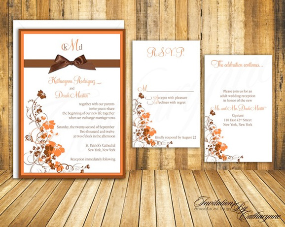 fall wedding invitations in orange and brown by invitations by catharynne - Fall Themed Wedding Invitations