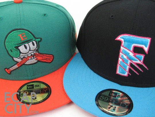 two minor league baseball offerings trappers fitted green orange the grizzlies black vintage hats