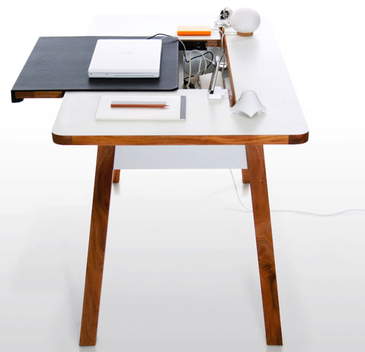Cool And Clutter Free Desk For Small Office