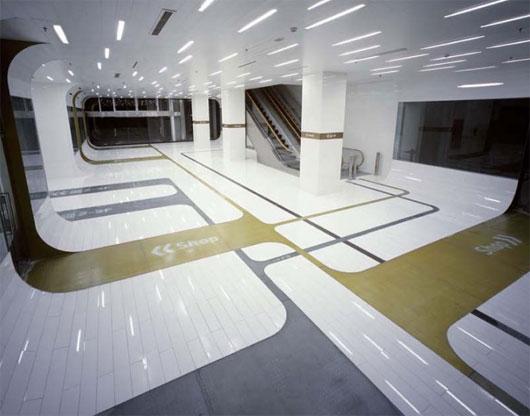 Signterior futuristic interior with signage element for Futuristic interior designs