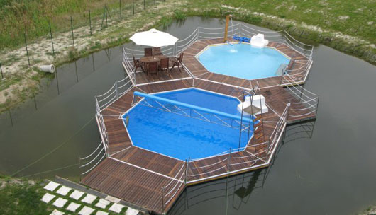 Modern floating pools for outdoor party by mobideep for Pool 22 design