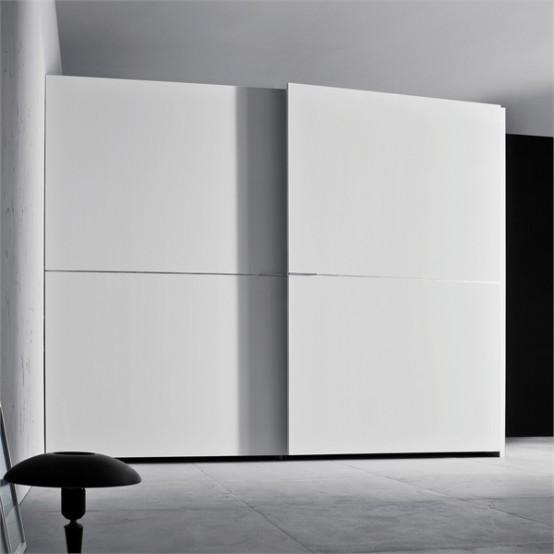 White wardrobe for minimalist interior design orizzonte and tratto by pianca designtodesign - Wardrobe for small spaces minimalist ...