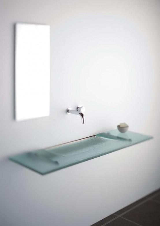 Very Slim Gl Bathroom Sink Linea Washplane Seafoam By Omvivo Designtodesign Magazine The Ultimate Online Design