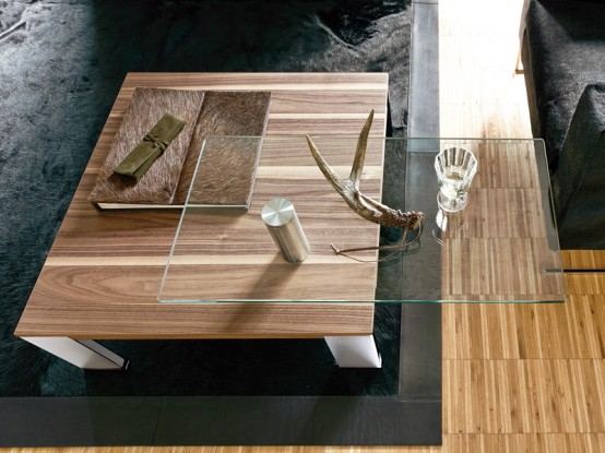 Wood Coffee Table With Swing Out Glass Top Ct 100 By