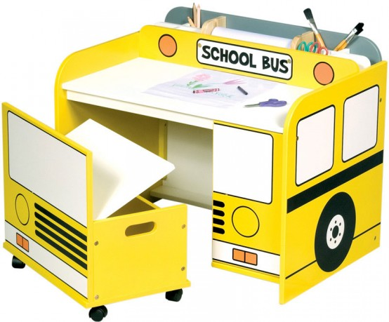 Ultimate space saving furniture trend home design and decor - School bus table and chair ...