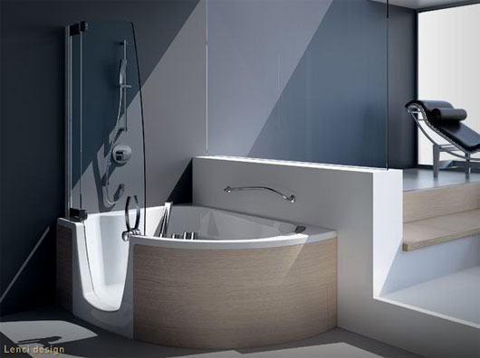 modern corner bathtub with shower combo from teuco designtodesign