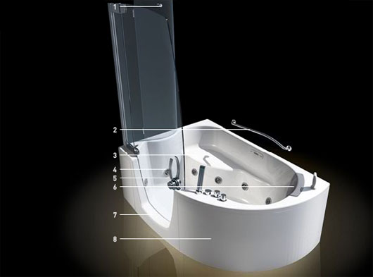Modern Corner Bathtub With Shower Combo From Teuco