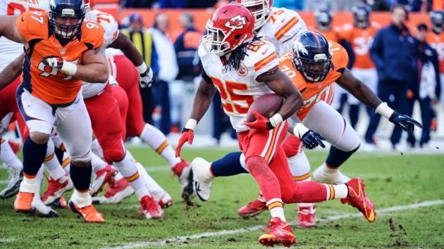 Chiefs RB Jamaal Charles Has High Ankle Sprain