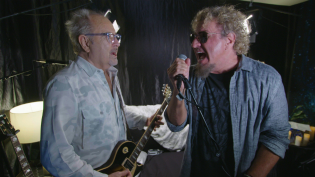 "Watch now: Sammy Hagar and Foreigner's Mick Jones jam on ""Dirty White Boy"" on ""Rock & Roll Road Trip"""