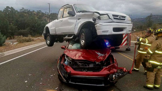 Four People Walk Away Unscathed After Three Vehicle Crash