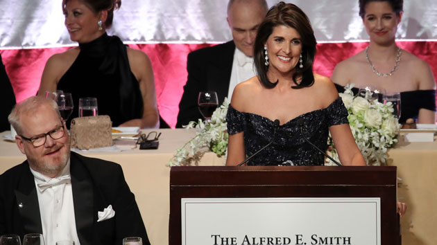 Outgoing UN Ambassador Nikki Haley introduced as 'next president of the US' at charity dinner