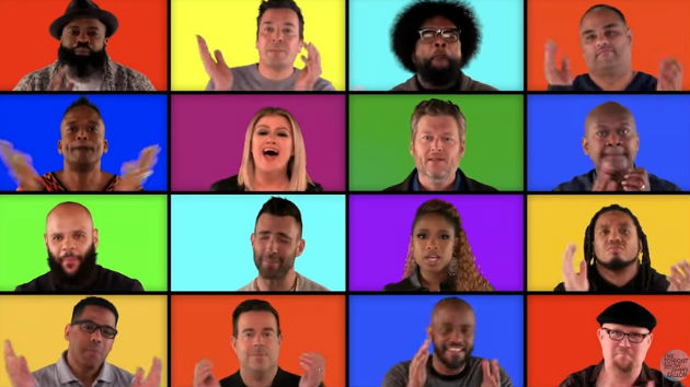 Adam Levine, Blake Shelton, Jennifer Hudson & Kelly Clarkson join Jimmy Fallon & The Roots for a mashup of their hits
